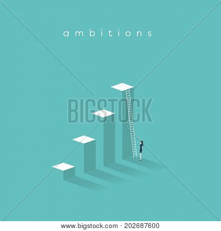 Business ambition, success and corporate ladder vector concept. Businesswoman standing in front of ladder trying to get promotion or to new opportunities. Eps10 vector illustration.