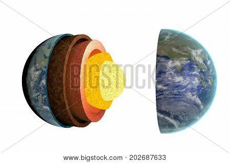 Earth Layers And Structure. Isolated On White Background. 3D Ren