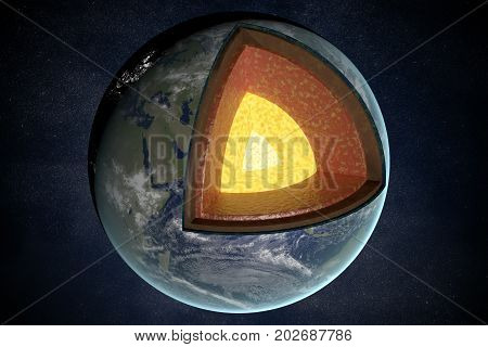 Earth Layers And Structure. 3D Rendered Illustration.