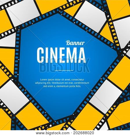 Cinema Movie Film Stripe or Reel Background on a Blue Cinematography Equipment Place for Your Text. Vector illustration of Movie Placard