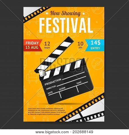Cinema Movie Festival Poster Card Template with Realistic Clapper Board for Ad, Invitation, Presentation . Vector illustration of Film Card