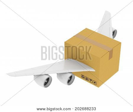 Cardboard with Jet Engines and Wings isolated on white background. 3D render