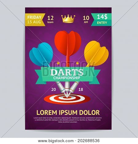 Darts Tournament Poster Card Template Realistic Target with Arrow. Vector illustration of Darts Sport Leisure Game