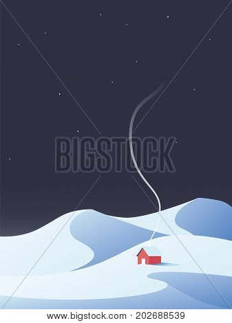Winter cabin, chalet, house in snowy mountains nature scenery. Symbol of winter relax, retreat. Eps10 vector illustration.