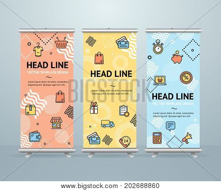 Roll Up Banner Stand Design Template Shopping for Retail Business Geometric Shapes Trendy Memphys Style for Advertising and Presentation. Vector illustration