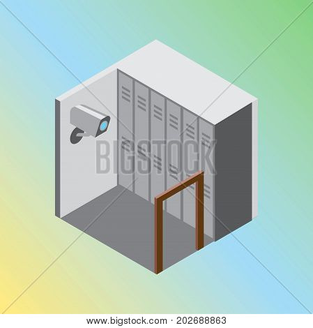 Vector design concept with isometric 3d hostel or hotel storage room illustration