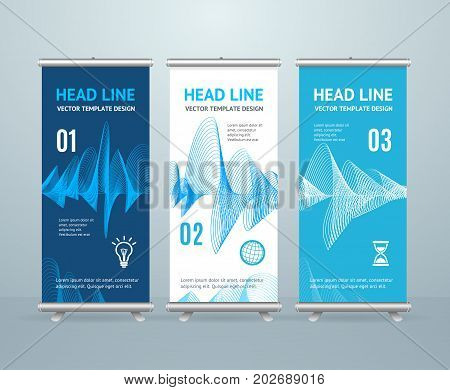 Roll Up Banner Stand Design Template with Abstract Music Equalizer Web Musical Bar Sound Waves Showing Volume for Advertising and Presentation. Vector illustration
