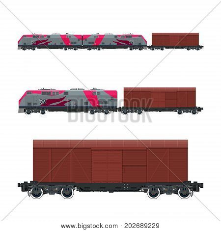 Pink Locomotive with Closed Wagon , Train, Railway and Cargo Transport, Vector Illustration