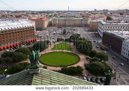 View of Saint Isaac's square and the Nicholas I Monument from St. Isaac's Cathedral in St. Petersburg, Russia.