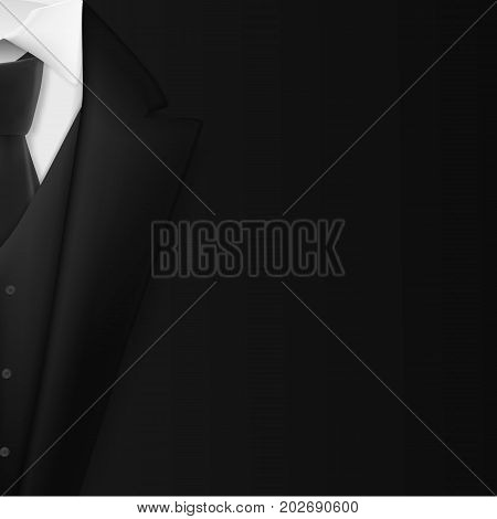 Illustration of Vector Black Suit. Realistic Mens Tuxedo Suit Succeed Businessman Concept