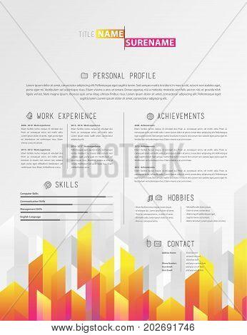 Creative simple cv template with colorful stripes in footer.