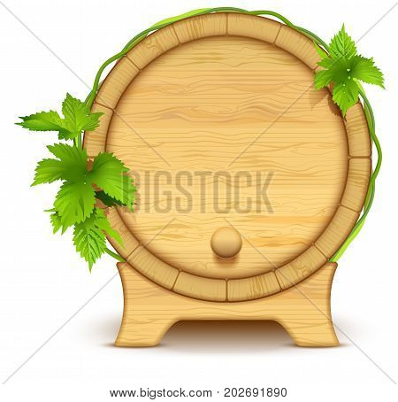 Wooden barrel for wine and beer. Green leaves of hops on barrel. Isolated on white vector cartoon illustration