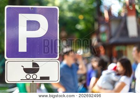 Signpost Marking A Parking Area Especially For Women With Babies