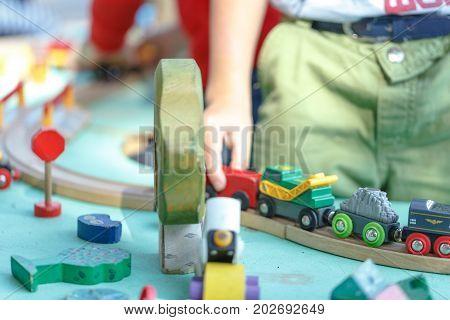 wood toy train set on big table