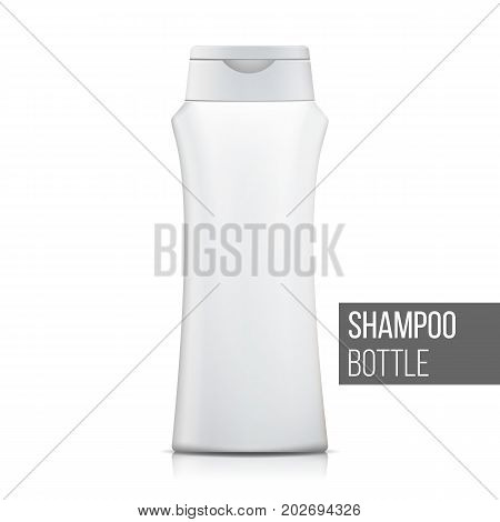 White Shampoo Bottle Vector. Empty Realistic Bottle. Cosmetic Container Packages. Isolated On White Illustration