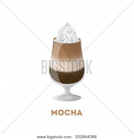Isolated mocha glass with whipped cream om white background..