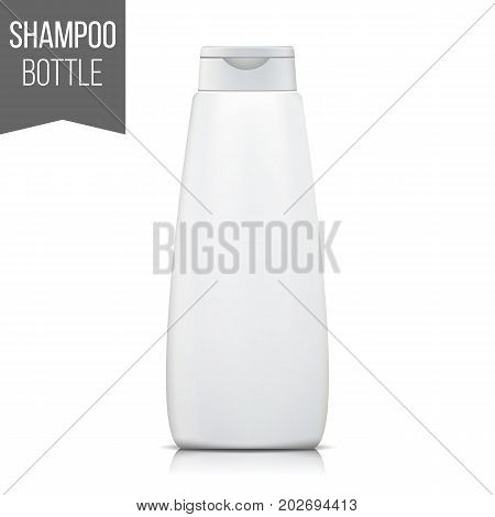 3D Plastic Bottle Shampoo Vector. Clean Plastic Bottle. Vector Mockups. Design Beauty Products. Isolated On White Background Illustration