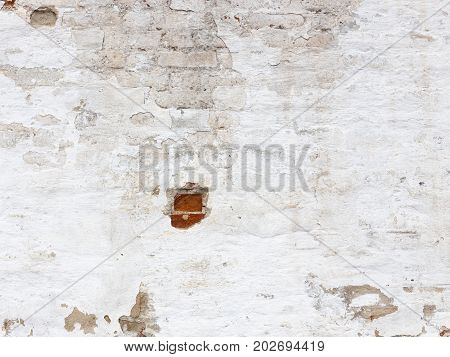 An old strong brick wall with peeling white old dirty paint