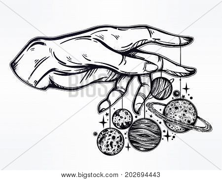Flash Astronomy. Human hand, marionette puppet moon and planets, celestial drawing. Dotwork ink tattoo vintage design. Vector illustration isolated. Astrology, alchemy, magic, nature symbol art.