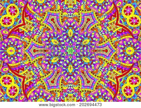 Illustration with bright abstract colorful concentric pattern