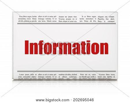 Information concept: newspaper headline Information on White background, 3D rendering