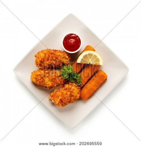 Fried fish fingers with chicken nuggets