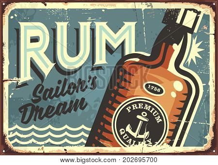 Rum vintage tin sign. Retro poster with bottle of alcoholic drink. Vector illustration.