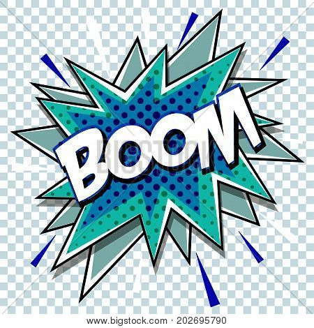 Cartoon comic graphic design for explosion blast dialog box background with sound BOOM. Vector