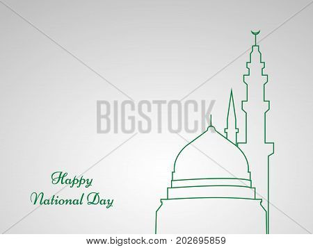 illustration of mosque and makkah clock Tower with Happy National Day text on the occasion of Saudi Arabia National Day