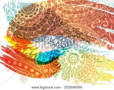 Happy Holi festival vector banner design with lettering, paint splashes and mehndi. Abstract background for Indian spring holiday
