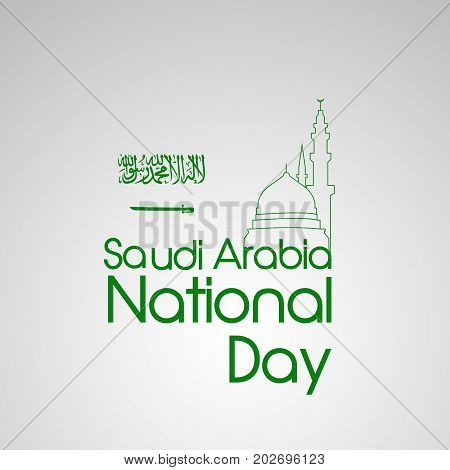 illustration of mosque and makkah clock Tower background with Happy Saudi Arabia National Day text on the occasion of Saudi Arabia National Day