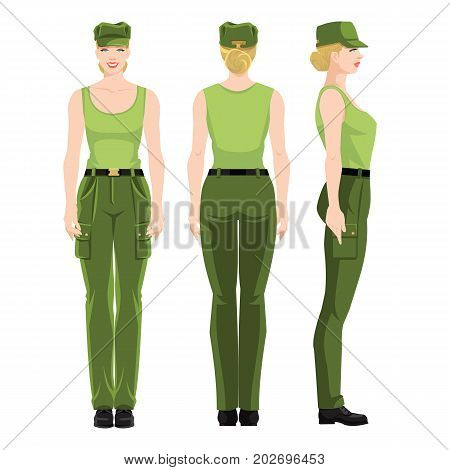 Woman soldier isolated on white background. Various turns woman's figure. Side view, front and back view.