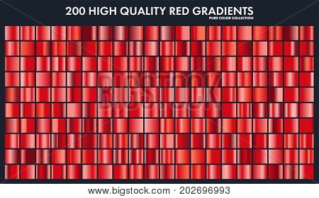 Red chrome gradient set, pattern, template.Love, heart colors for design, collection of high quality gradients.Metallic texture, shiny metal background.Suitable for text , mockup, banner, ribbon