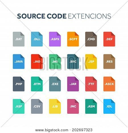 Flat style icon set. Source code, programming file type, extencion. Document format. Pictogram. Web and multimedia. Computer technology.