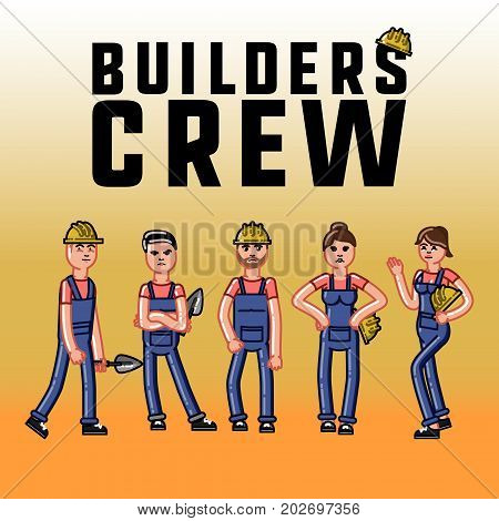 Sketch builders concept. Vector sketch cartoon illustration isolated on color background.