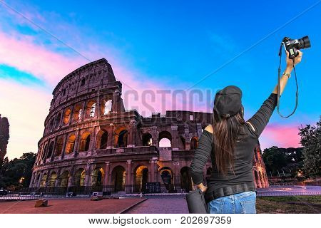 Night view of the Colosseum in Rome Italy. Rome architecture and landmarkhistoricarchitecture Rome Colosseum is one of the main attractions of Rome and Italy.
