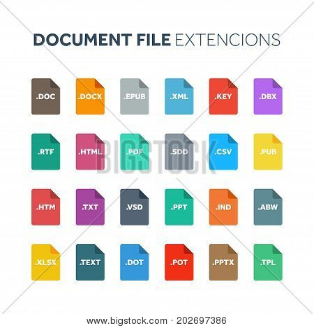 Flat style icon set. Document, text file type, extencion. Document format. Pictogram. Web and multimedia. Computer technology.