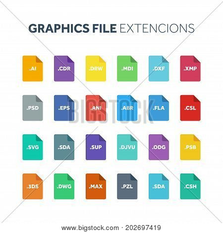 Flat style icon set. Graphic design, vector file type, extencion. Document format. Pictogram. Web and multimedia. Computer technology.