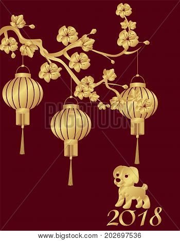 Chinese New Year. The year 2018 is the year of the dog. Three Chinese lanterns on a cherry branch and a puppy are stylized under bronze. Vector illustration
