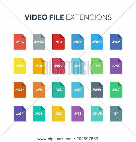 Flat style icon set. Video, movie, film file type, extencion. Document format. Pictogram. Web and multimedia. Computer technology.