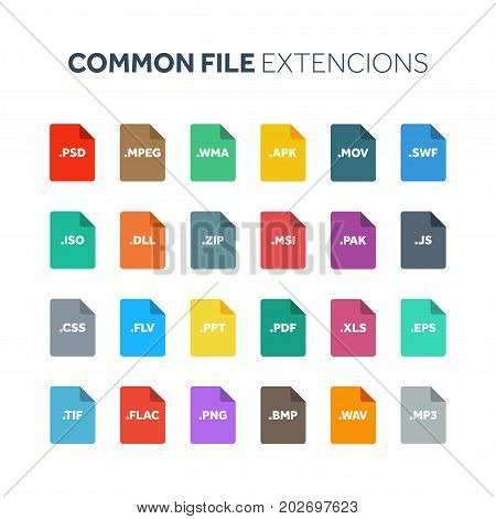 Flat style icon set. System, common file type, extencion. Document format. Pictogram. Web and multimedia. Computer technology.