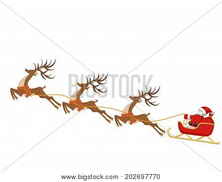 New Year, Christmas. Drawing of deer and sleigh of Santa Claus. In color. Vector illustration