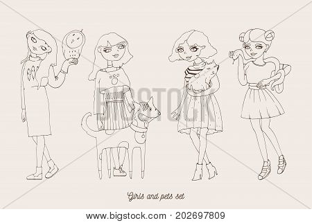 Hand drawn girls characters with cute pets as dog cat snake and owl. Home lovely pets with loving owners. Pets and owners are similar to each other in outline doodle style