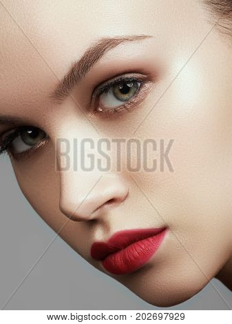 Beautiful Model With Fashion Make-up. Close-up Portrait Sexy Woman With Glamour Lip Makeup. Shot Of