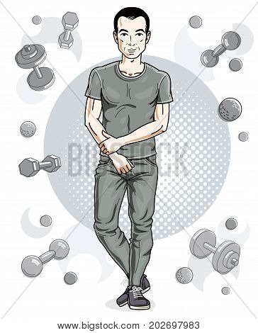 Confident handsome brunet young man is standing on simple background with dumbbells and barbells. Vector illustration of sportsman sport style.
