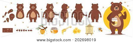 Vector cartoon style bear character for animation. Different emotions and beekeeping symbols. Isolated on white background.
