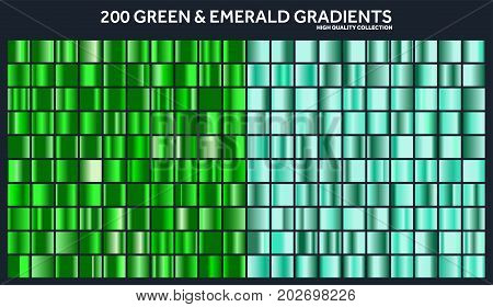 Grren, emerald chrome gradient set, pattern, template.Nature, grass colors for design, collection of high quality gradients.Metallic texture, shiny metal background.Suitable for text , mockup, banner, ribbon