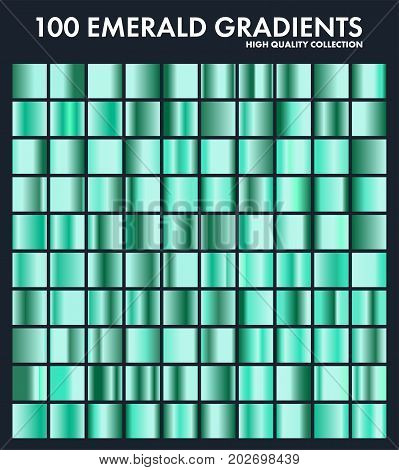 Grren emerald chrome gradient set, pattern, template.Nature, grass colors for design, collection of high quality gradients.Metallic texture, shiny metal background.Suitable for text , mockup, banner, ribbon