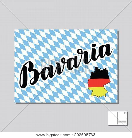 Bavaria hand drawn lettering post card with german flag on map on bayern background. Vector lettering illustration. Template for Traditional German Oktoberfest bier festival.