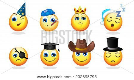 Cartoon funny emoticons set with party sleeping cowboy gentleman cylinder hats warmer crown graduation cap pirate eye patch isolated vector illustration